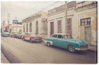 Canvas Oldtimer an der Straße | Kuba