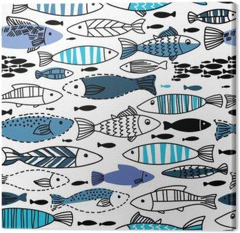 Canvas Onderwater naadloze patroon met vissen. Naadloos patroon kan worden gebruikt voor behang, web pagina-achtergronden