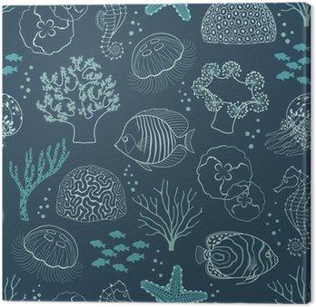 Canvas Onderwaterleven patroon