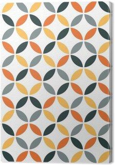 Canvas Oranje Geometrische Retro Naadloos Patroon