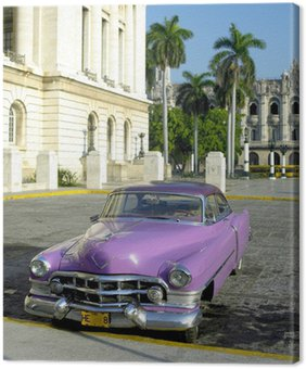 Canvas Oude auto voor Capitol Building, Oud Havana, Cuba