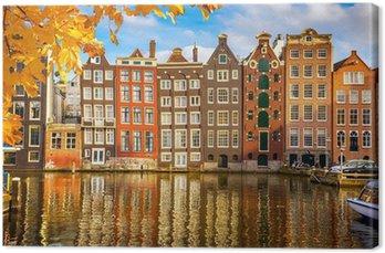 Canvas Oude gebouwen in Amsterdam