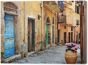Canvas Oude straten van de Italiaanse dorpen