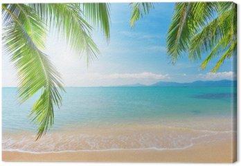Canvas Palmbomen en tropische strand