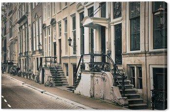 Canvas Perspectief van de oude amsterdam