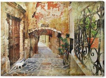 Canvas Picturale oude straten van Griekenland, Kreta