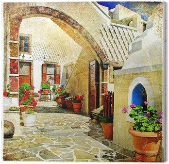 Canvas Picturale straten van Santorini