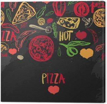 Canvas Pizza menu met olijven, woorden, tomaten en plakjes op donkere achtergrond voor banners, inpakpapier.