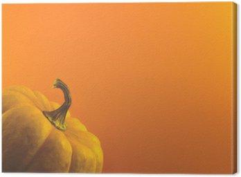 Canvas Pompoen op oranje achtergrond