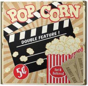 Canvas Popcorn met klepel boord en film tickets vintage poster