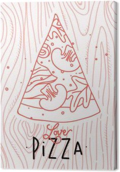 Canvas Poster liefde pizza slice