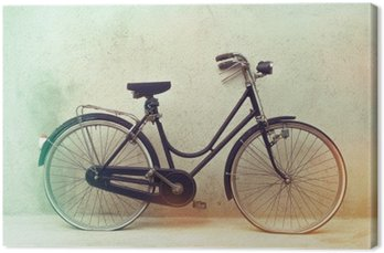 Canvas Prachtige oude roestige fiets retro met geweldige effect kleuren op