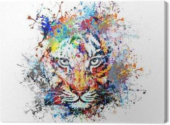 Canvas Print яркий фон с тигром