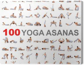 Canvas Print 100 yoga poses on white background
