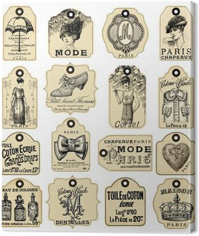 Canvas Print 16 french retro labels