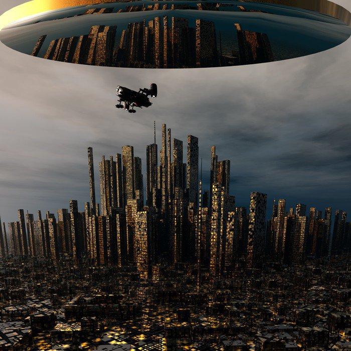 3d alien UFO space ship above night city Canvas Print -