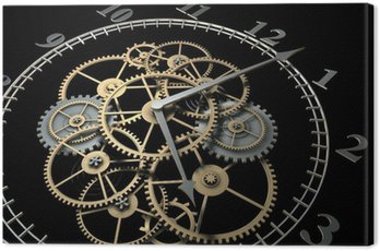 Canvas Print 3d Clock with Cogs on Dark Background