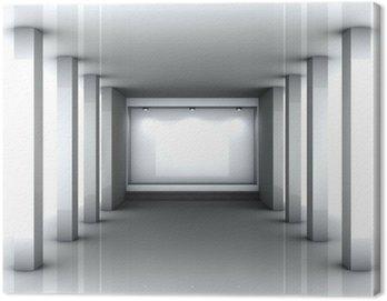 3d empty niche with spotlights for exhibit in bright interior Canvas Print