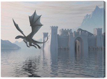 Canvas Print 3D Illustration Of A Castle On The Water And Dragon