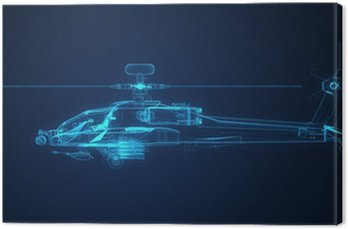 Canvas Print 3d Wire Frame sketch of Apache Helicopter