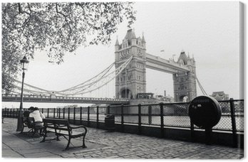 A black and white view of Tower Bridge Canvas Print