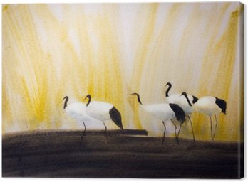 a group of cranes in the reeds