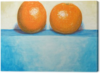 Canvas Print a painting of two oranges