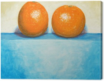 a painting of two oranges