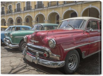A series of old american cars from the 50's in Havana, Cuba