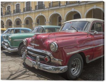 A series of old american cars from the 50's in Havana, Cuba Canvas Print