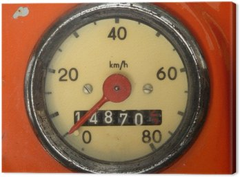 A Vintage Speedometer On A Red Scooter