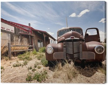 Canvas Print Abandoned restaraunt on route 66 road in USA