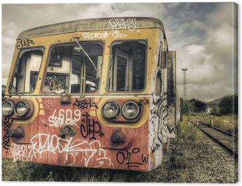 Canvas Print Abandoned tagged railcar