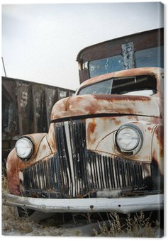 abandoned truck in rural wyoming junkyard