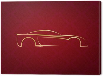 Abstract calligraphic car logo on red background