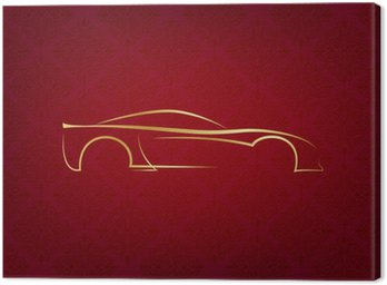 Canvas Print Abstract calligraphic car logo on red background