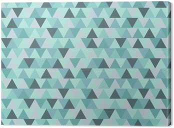 Abstract Christmas triangle pattern, blue grey geometric winter holiday background Canvas Print