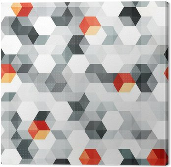 abstract cubes seamless pattern with grunge effect Canvas Print