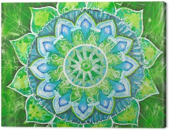 Canvas Print abstract green painted picture with circle pattern, mandala of a