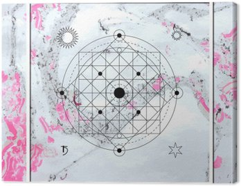 Abstract mystical geometry, linear alchemy, occult, philosophical sign.