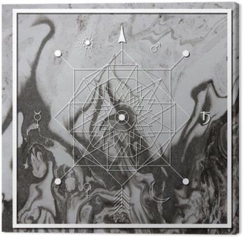 Canvas Print Abstract mystical geometry, linear alchemy, occult, philosophical sign.