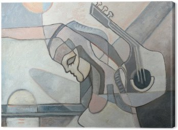 Abstract Painting With Woman and Guitar