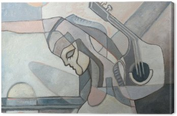 Canvas Print Abstract Painting With Woman and Guitar