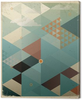 Abstract Retro Geometric Background with clouds Canvas Print