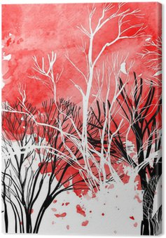 Abstract silhouette of trees Canvas Print