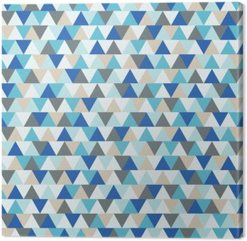 Abstract triangle vector background, blue and grey geometric winter holiday pattern Canvas Print