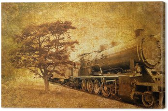 Canvas Print abstract vintage photo of steam train