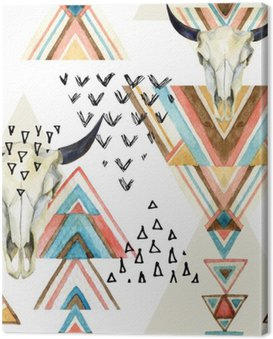 Canvas Print Abstract watercolor animal skull and geometric ornament seamless pattern.