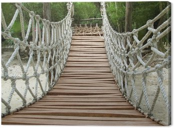 Canvas Print Adventure wooden rope jungle suspension bridge