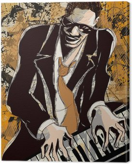 Canvas Print afro american jazz pianist